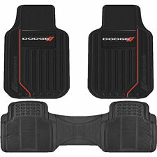 SOLID BLACK DODGE ELITE LOGO FLOOR MATS 3PC SET