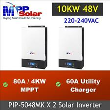 10Kw Solar inverter 230Vac MPPT solar charger 80A*2 (PIP5048MK*2 in parallel)