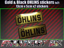 2x Ohlins BLACK & GOLD Decals Stickers Suspension, Bike, Shock, motorcycle V2