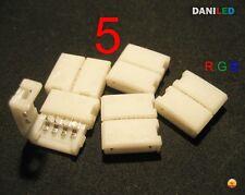 5 X CONECTORES EMPALME DE 4 PIN RGB 10mm PARA TIRA LED SMD 5050 RGB