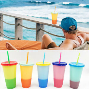 5pcs Reusable Water Bottles With Straws Color Changing Cold Cups Tumblers