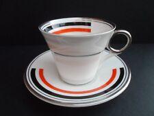 "Shelley Art Deco ""BANDS"" 12302 Regent shape demitasse/coffee cup & saucer. C1934"