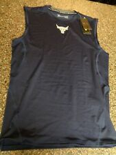 Under Armour Project Rock Men Large Blue Compression Sleeveless Shirt Tank NEW