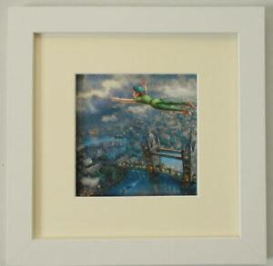THOMAS KINKADE DISNEY - PETER PAN OVER LONDON - FRAMED PRINT 10 x 10