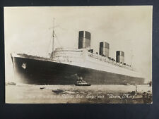 Mint 1934 Queen Mary Cruise Cruise Ship Cunard Liner Real Picture Postcard RPPC