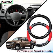 Black Carbon Fiber Leather Car Steering Wheel Cover For Volkswagen Amarok