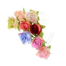 Bridal Wedding Silky Cloth Flower Rose Jewellery Hair Pin Clip Accessory