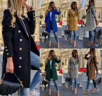 Women's Ladies Military Style Double Breasted Gold Button Wool Blend Coat Jacket