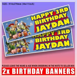"""2 PERSONALISED TOY STORY BIRTHDAY BANNERS 3 ft - 36 """"x 11"""" WOODY BUZZ"""