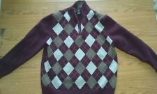 Brooks Brothers~ Boys Mens Sweater Size L Argyle Burgundy Grey Half Zip Front