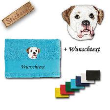 Handtuch Duschtuch Baumwolle Stickerei Hund Amerikanische Bulldogge + Wunschtext