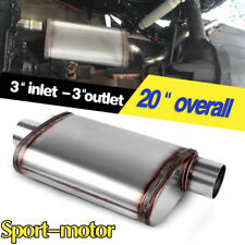 "Single Center 3"" Inlet/Offset Outlet Straight-through Perforated Exhaust Muffler"