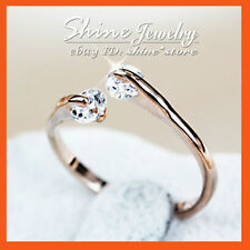 Diamond Rose Gold Plated Band Simulated Fashion Rings