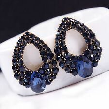 Hot Women Vintage Style Fashion Blue Rhinestone Dangle Ear Stud Earrings Jewelry