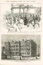 1886 Antique Print LONDON SAVOY PLACE EMBANKMENT MEDICINE SURGERY HALL QUEEN (72