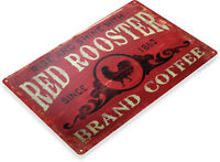 TIN SIGN Coffee Red Rooster Metal Décor Art Kitchen Store Café Bar A296
