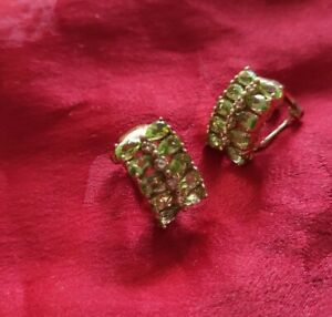 PRETTY PERIDOT VINTAGE HALLMARK GOLD OVER STERLING SILVER CLIP ON EARRINGS,7.4 G