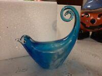 Art Glass Bird, Blue/White Hand Blown Glass Bird Murano Style Art Glass Figurine