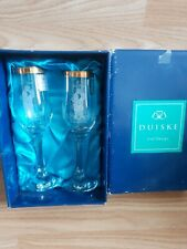 """Duiske Irish Handcut Glass Set of 2 """"On Your Engagement"""" Glasses Boxed"""