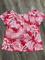 Dana Buchman Red/White Palm Print Smocked Burnout Top Shirt Size Medium NWOT