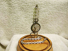 real 15 Jewel watch movement Fob Vintage Solid Nickle Pocket Watch Chain with