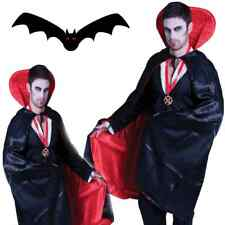 Vampire Dracula Long Satin Cape Reversible Black Red Halloween Costume Adult Men
