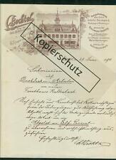 Litho Rechnung Brief Carl Bechtel Ziegel Dächer Bau-Ornamente Gas Speyer 1894