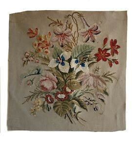 Charming 19th Cent. English or French floral needlepoint 5406