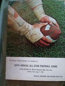 1969 College All-Stars Vs New York Jets Football Program Soldier Field