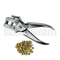 HEAVY DUTY CRAFT FABRIC LEATHER PLIERS AND BRASS GOLD EYELETS HOLE PUNCH TOOL