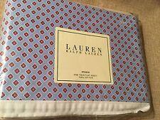 Ralph Lauren 100% Cotton STUDIO FOULARD Seaview Blue TWIN Flat Sheet 1st Q