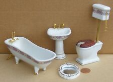 1:12 Scale 4 Piece Ceramic Bathroom Set Tumdee Dolls House Accessory 1431