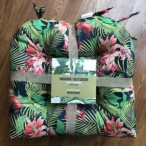 New Tommy Bahama Indoor Outdoor Seat Cushions Set of 2 Hibiscus Leaf Print 20x20
