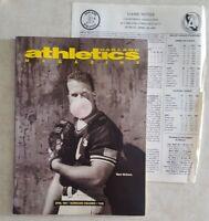 OAKLAND A's ATHLETICS APRIL 1991 MAGAZINE SCORECARD w GAME NOTES v ANA UNSCORED