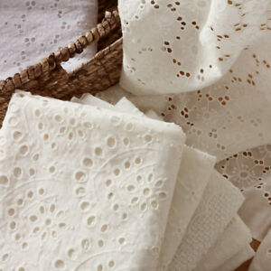 White Hollow Lace Cotton Fabric Embroidery Floral Curtain Wedding Dress Crafts