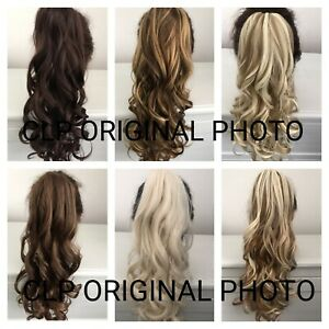 "UK SELLER 22"" Claw Clip Synthetic Ponytail Hair Extension Curly Thick Long"