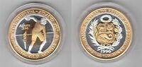 PERU TRIMETAL PROOF 20 NEW SOLES COIN 1996 YEAR DISCUS MINTAGE 25 PIECES PATTERN