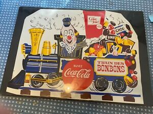 """RARE FRENCH COCA-COLA FLAT PLASTIC SHEET FOR """"CLOWN ON TRAIN"""" VACUUM FORM SIGNNM"""