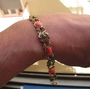 Antique Style Mediterranean Pink Coral Italy Silver Gold Bracelet 20 Cm Long