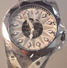 New Mens Watchstar Super Star Skeleton Silver Dial Automatic Unique Exotic Watch