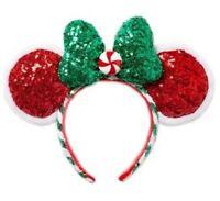 Disney Parks Christmas Minnie Mouse Peppermint Twist Ears One Size Headband