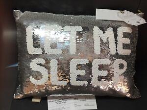 Pottery Barn Teen Reversible Sequin PILLOW Let It SNOW Sleep Kids Valentine Gift