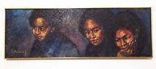 Three Mexican Children 1967 Jonas Gerard Acrylic on Canvas 16x46 Original Voodoo