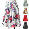 Women Vintage A-Line High Waist Tutu Floral/Polka Dots Swing Dress Midi Skirt