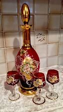 Vintage Ruby Red Czech Decanter And Glasses