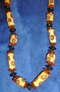 AFRICAN TRADE BEAD STYLE, MILLEFIORI NECKLACE 2 Spring-Latches, Fused Glass? Exc