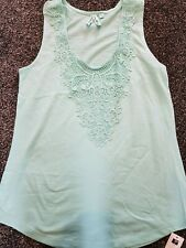 Ladies Dunnes Green Sleeveless Vest Top With Lace Detail Size 12 New