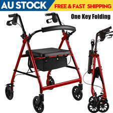 158KG Lightweight Foldable Rollator Walking Frame Mobility Walker Wheelchair Aid