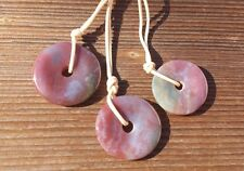 NATURAL FANCY AGATE DOUGHNUT PENDANT WITH CORD GEMSTONE