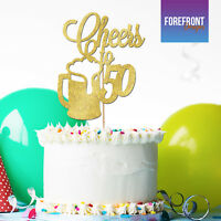 Personalised 'CHEERS TO 50' beer birthday GLITTER CAKE TOPPER- Any wording/age